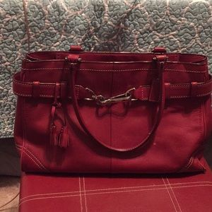 Red Leather Coach Bag. Authentic with hang tag.